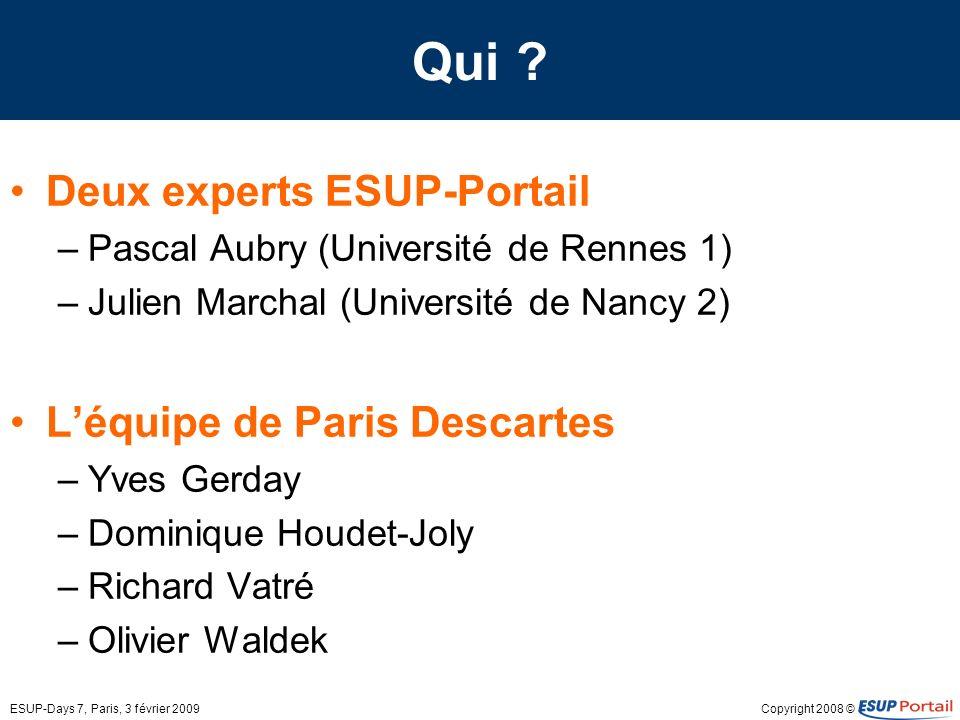Qui Deux experts ESUP-Portail L'équipe de Paris Descartes