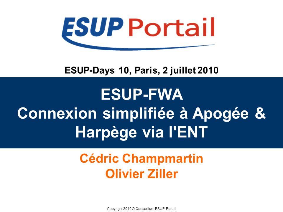 ESUP-FWA Connexion simplifiée à Apogée & Harpège via l ENT