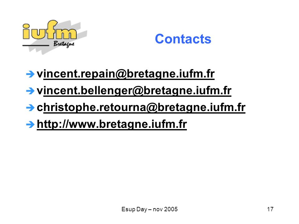 Contacts vincent.repain@bretagne.iufm.fr