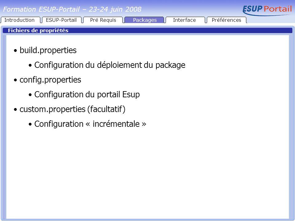 Configuration du déploiement du package config.properties