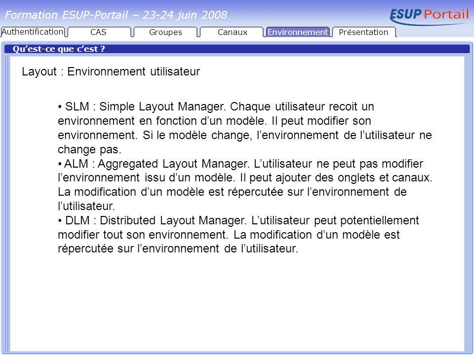 Layout : Environnement utilisateur
