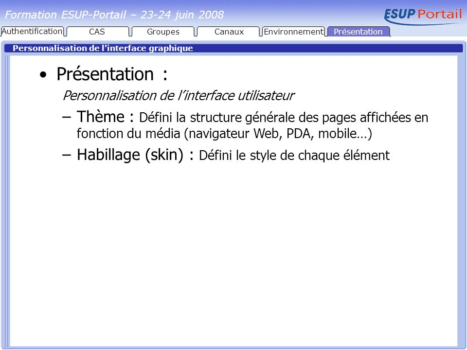 Formation ESUP-Portail – juin 2008