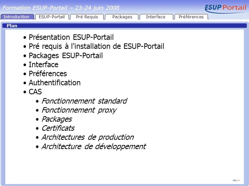 Présentation ESUP-Portail Pré requis à l installation de ESUP-Portail