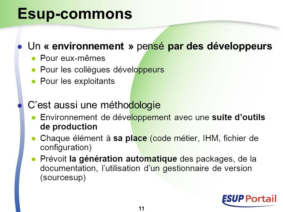 Esup-commons Un « environnement » pensé par des développeurs