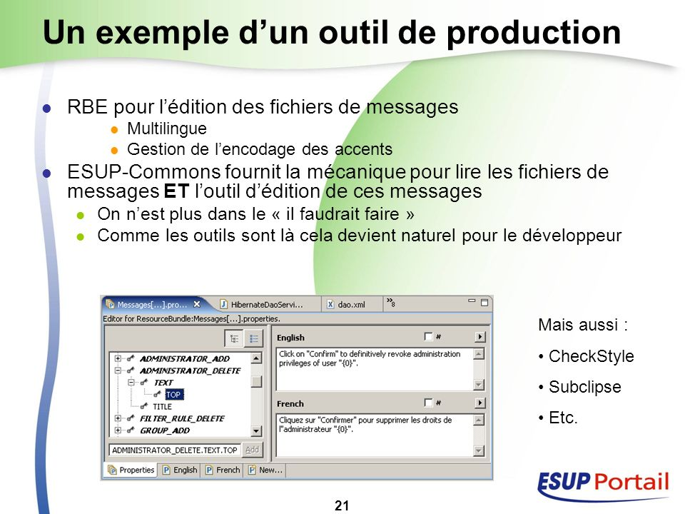 Un exemple d'un outil de production