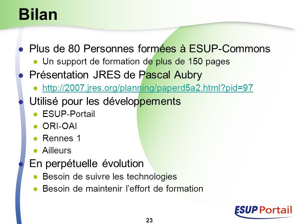 Bilan Plus de 80 Personnes formées à ESUP-Commons
