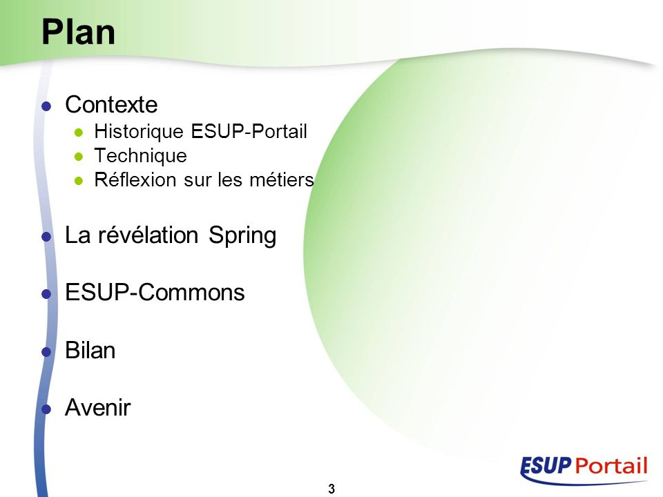 Plan Contexte La révélation Spring ESUP-Commons Bilan Avenir