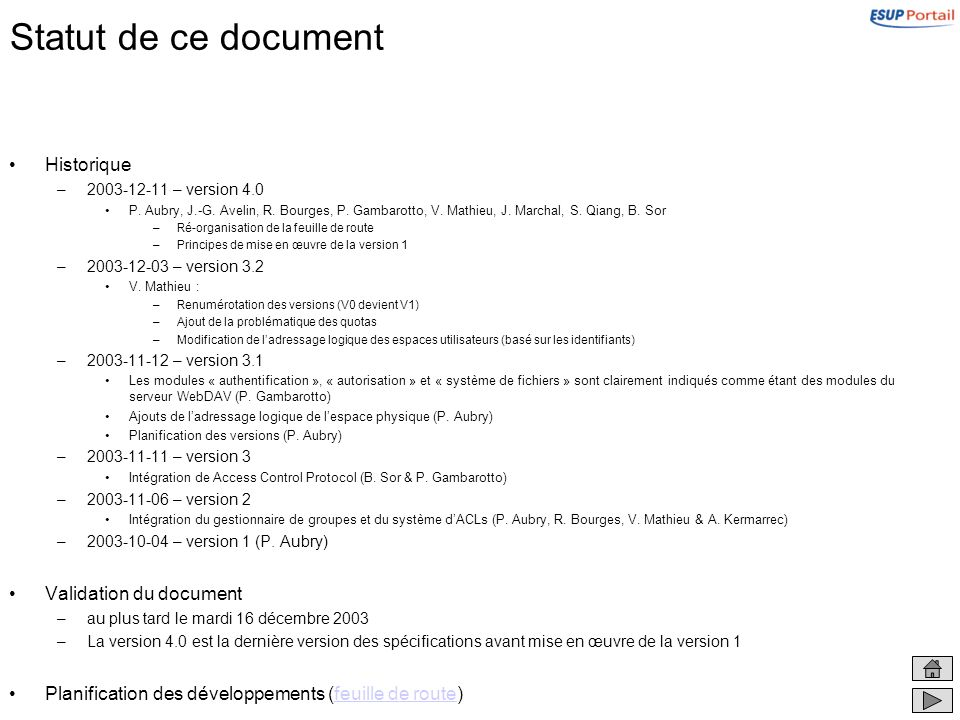 Statut de ce document Historique Validation du document