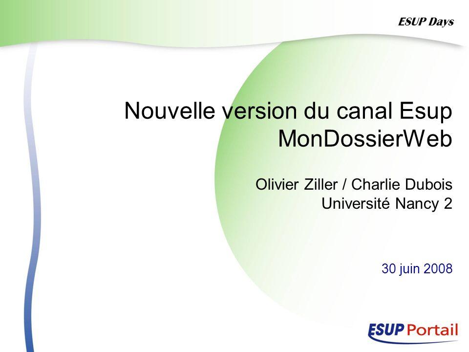 Nouvelle version du canal Esup MonDossierWeb