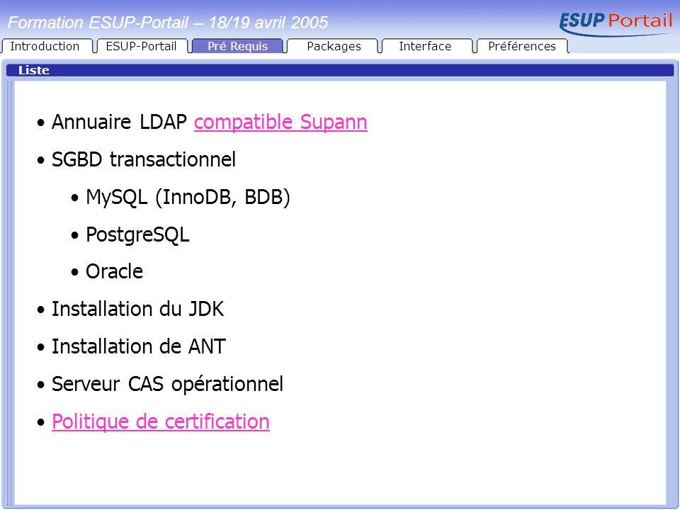 Annuaire LDAP compatible Supann SGBD transactionnel