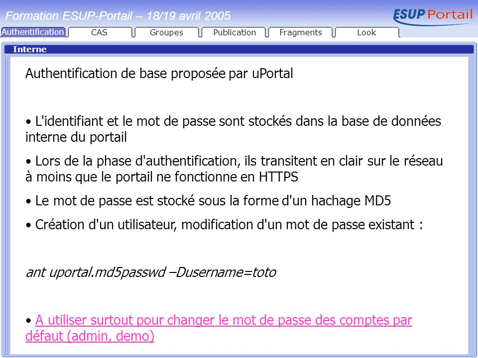 Authentification de base proposée par uPortal