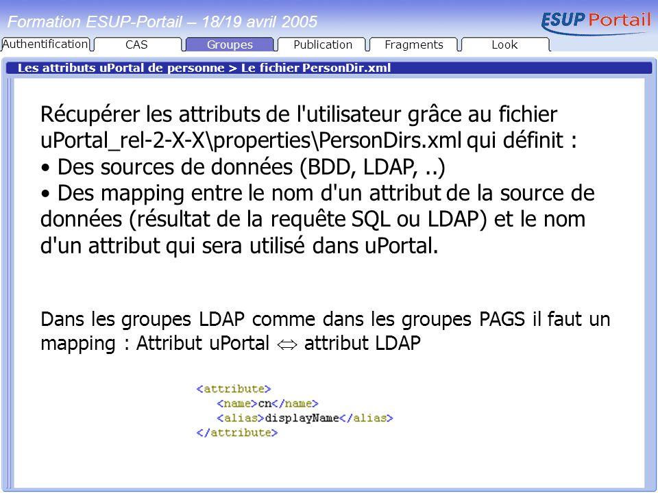 Des sources de données (BDD, LDAP, ..)