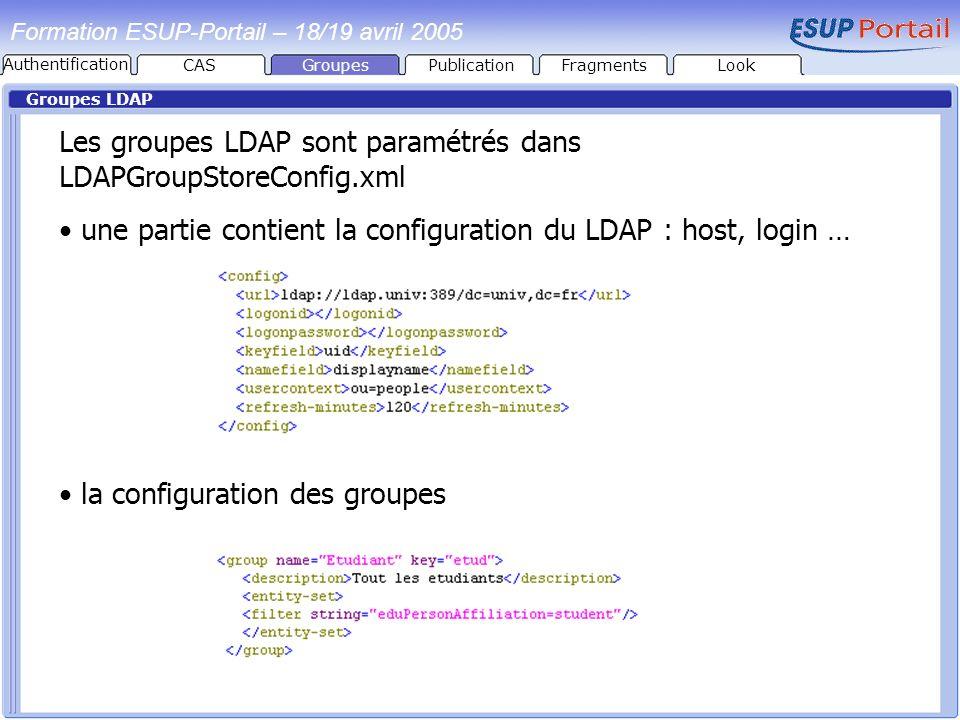 Les groupes LDAP sont paramétrés dans LDAPGroupStoreConfig.xml