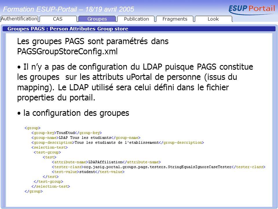 Les groupes PAGS sont paramétrés dans PAGSGroupStoreConfig.xml
