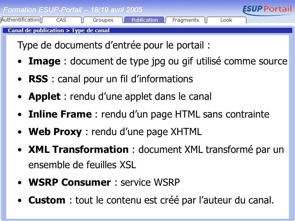 Type de documents d'entrée pour le portail :
