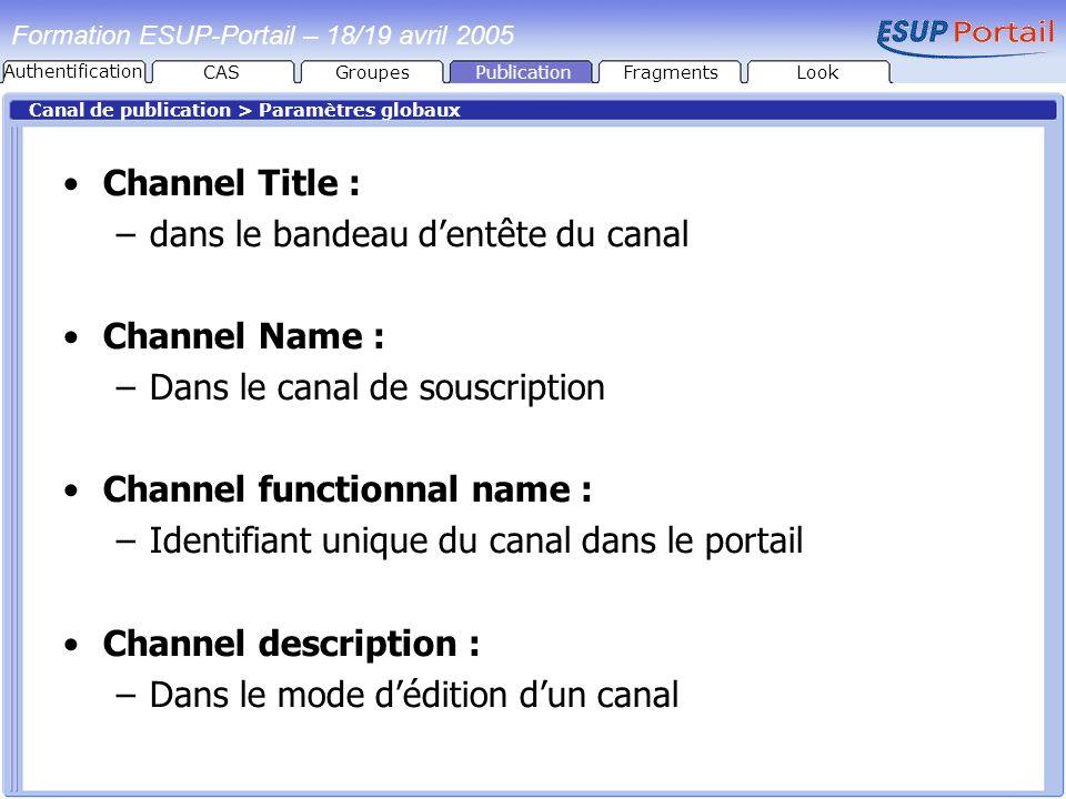 dans le bandeau d'entête du canal Channel Name :