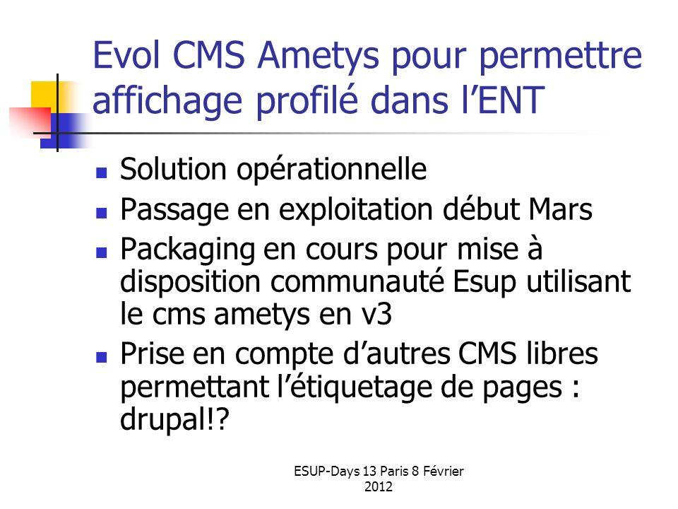 Evol CMS Ametys pour permettre affichage profilé dans l'ENT