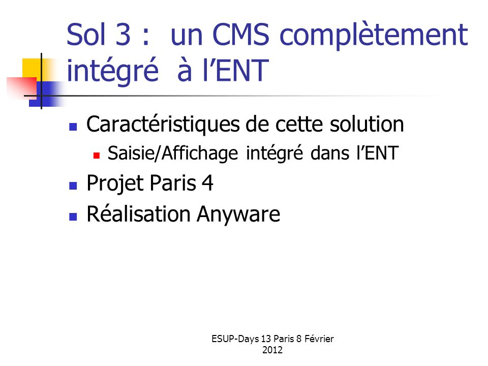 Sol 3 : un CMS complètement intégré à l'ENT