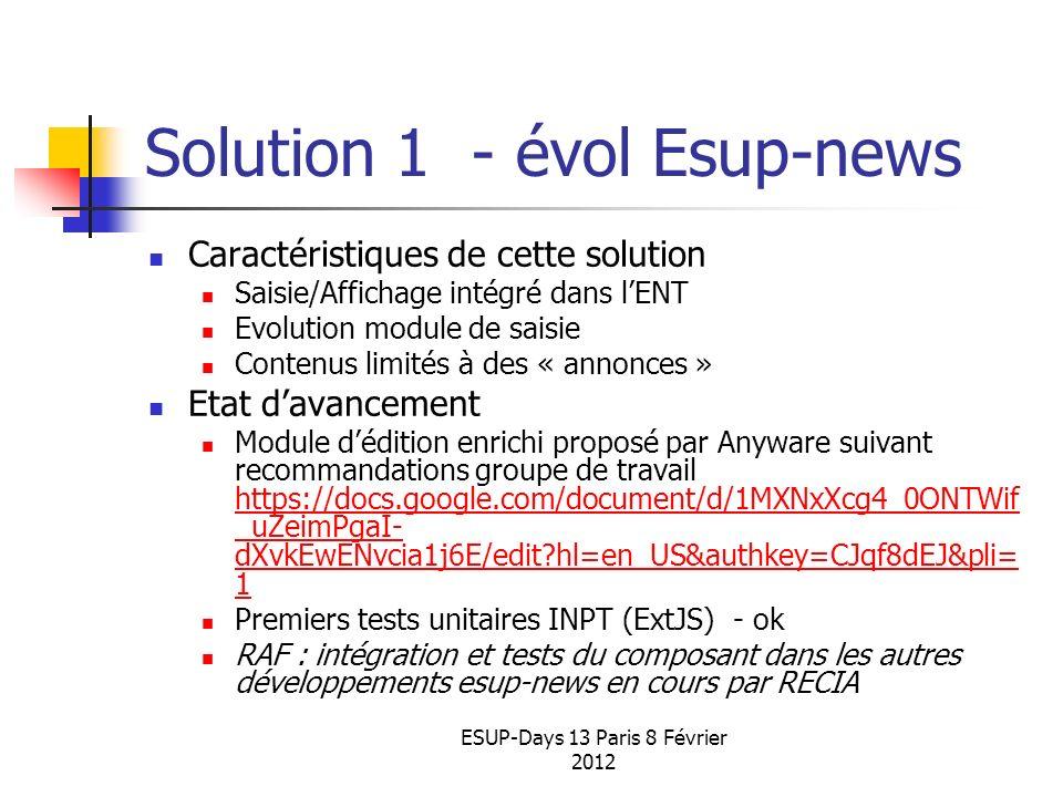 Solution 1 - évol Esup-news