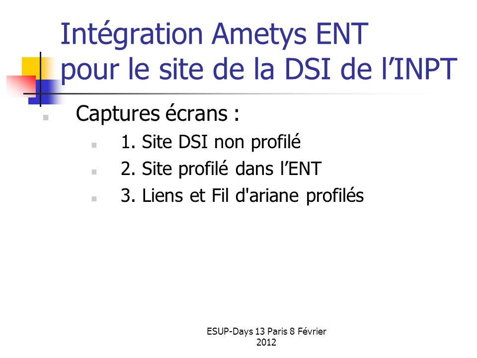Intégration Ametys ENT pour le site de la DSI de l'INPT