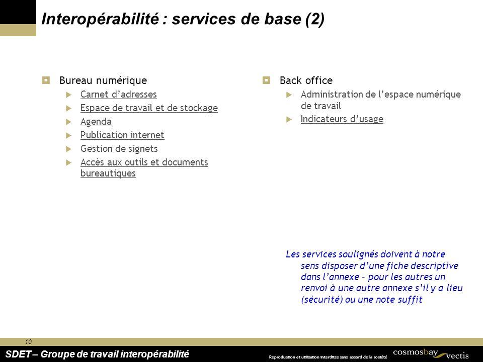 Interopérabilité : services de base (2)