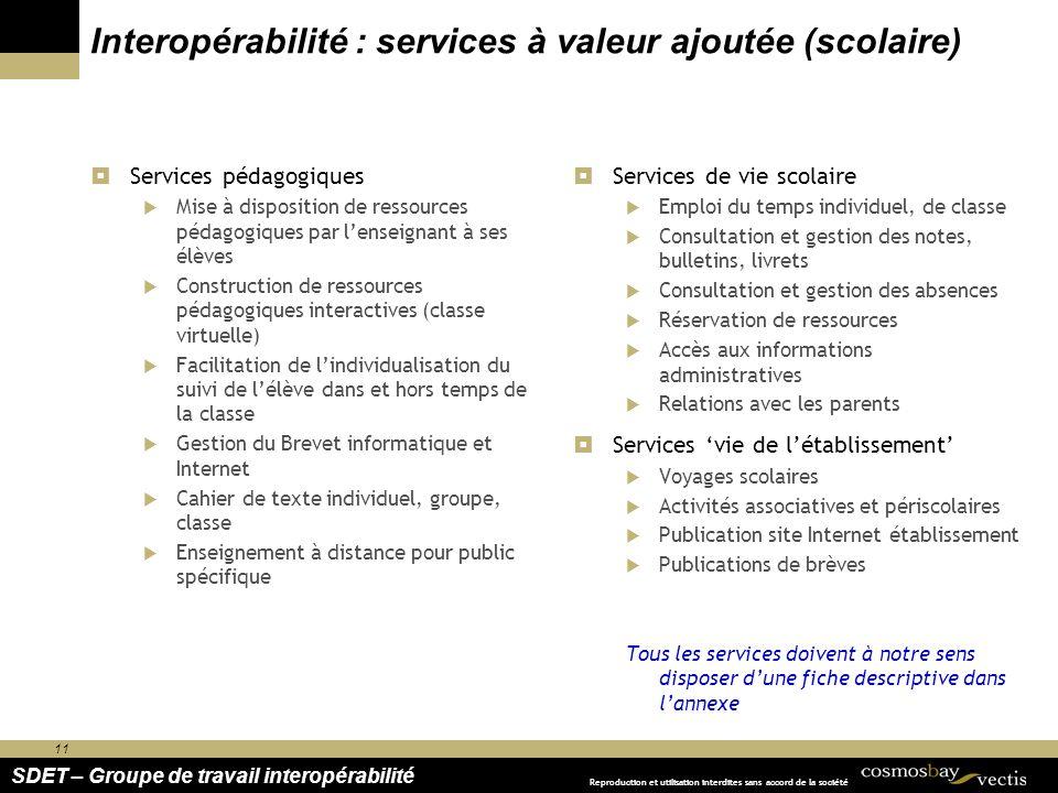 Interopérabilité : services à valeur ajoutée (scolaire)