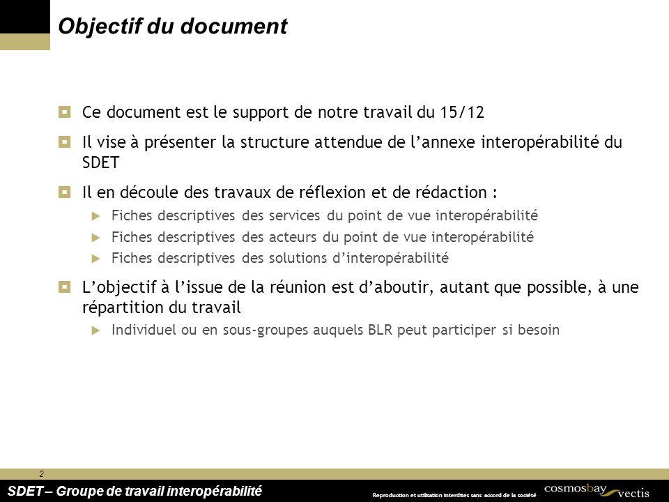 Objectif du document Ce document est le support de notre travail du 15/12.