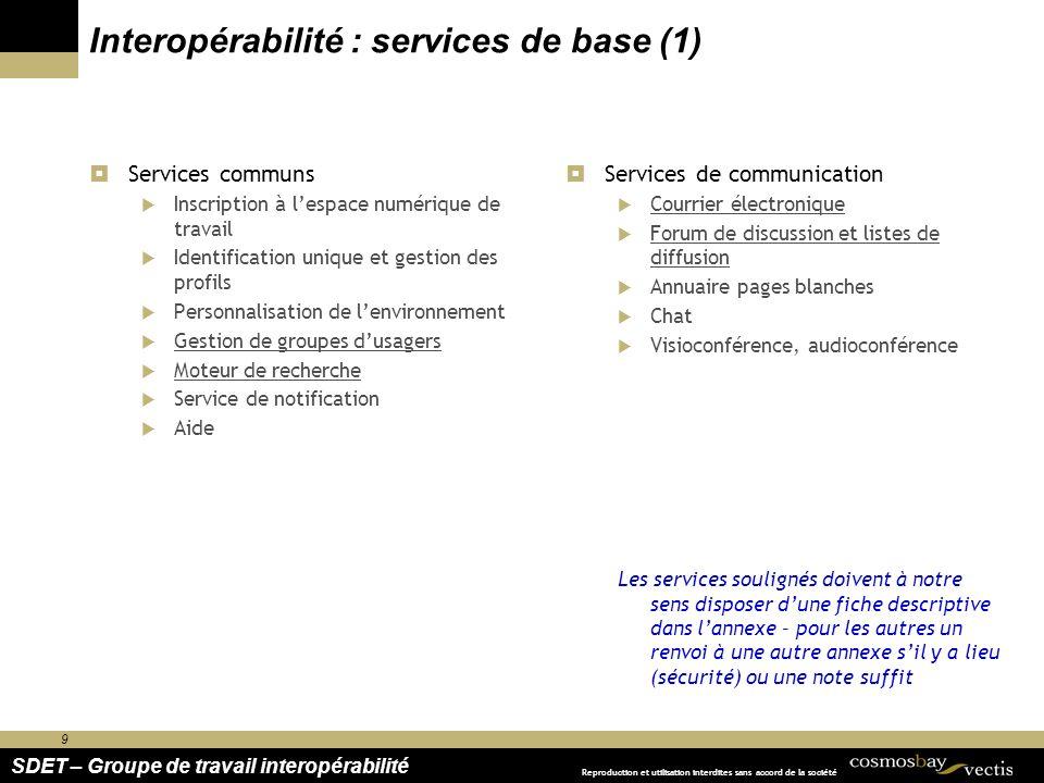 Interopérabilité : services de base (1)