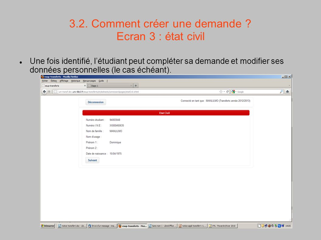 3.2. Comment créer une demande Ecran 3 : état civil