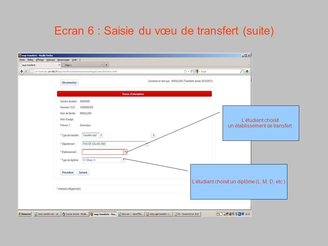 Ecran 6 : Saisie du vœu de transfert (suite)