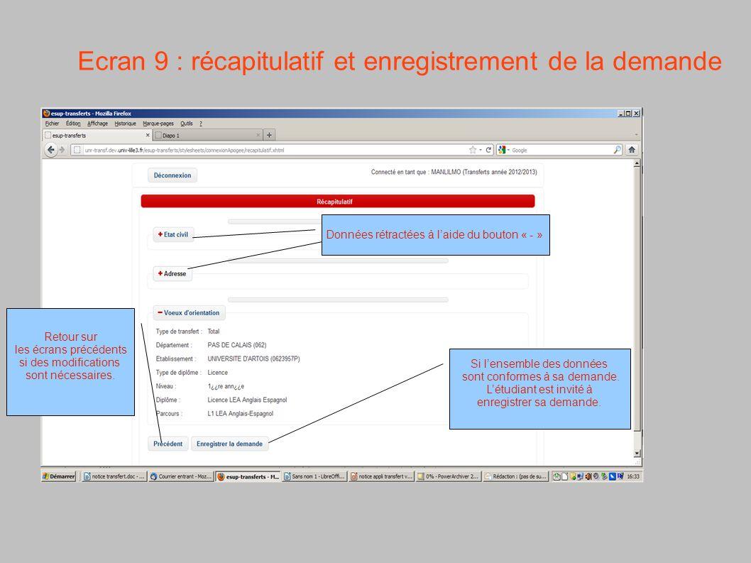 Ecran 9 : récapitulatif et enregistrement de la demande