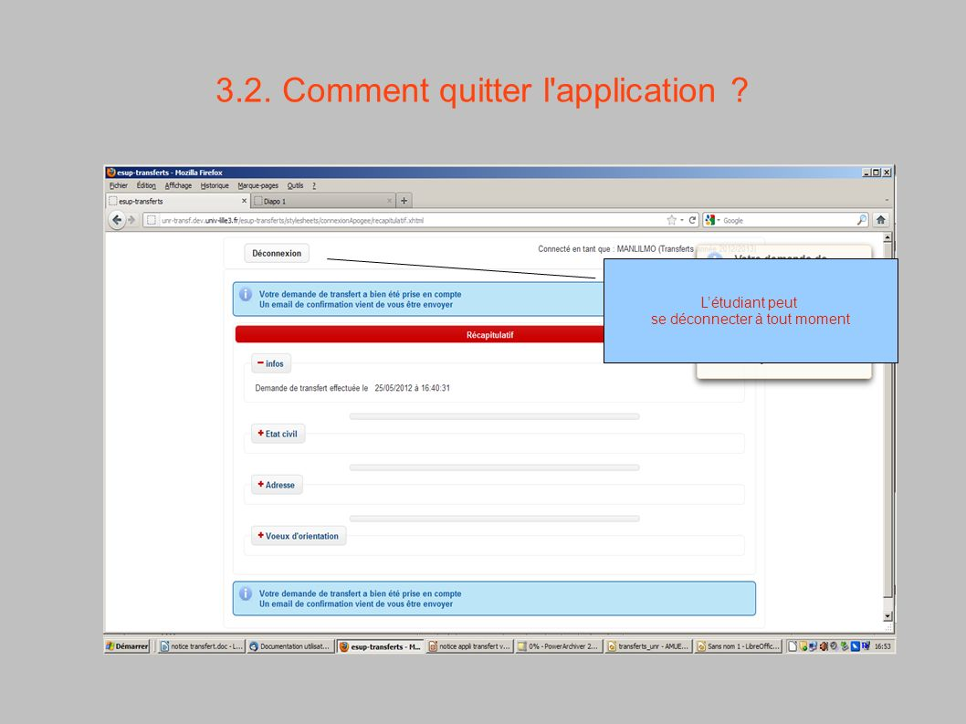 3.2. Comment quitter l application