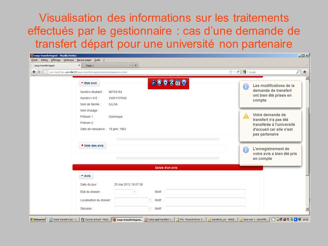 Visualisation des informations sur les traitements effectués par le gestionnaire : cas d'une demande de transfert départ pour une université non partenaire