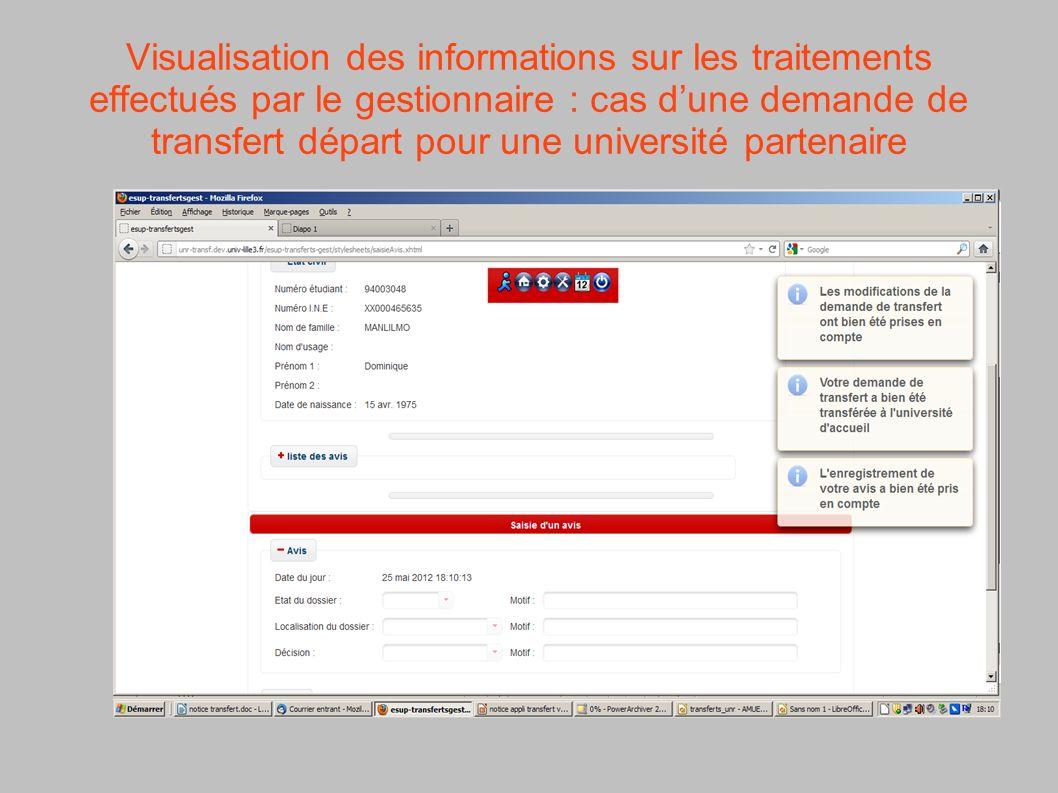 Visualisation des informations sur les traitements effectués par le gestionnaire : cas d'une demande de transfert départ pour une université partenaire