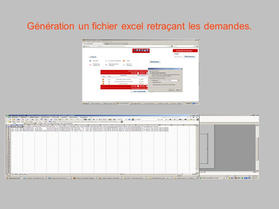 Génération un fichier excel retraçant les demandes.