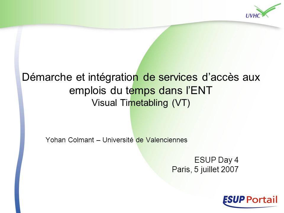 Démarche et intégration de services d'accès aux emplois du temps dans l'ENT Visual Timetabling (VT)