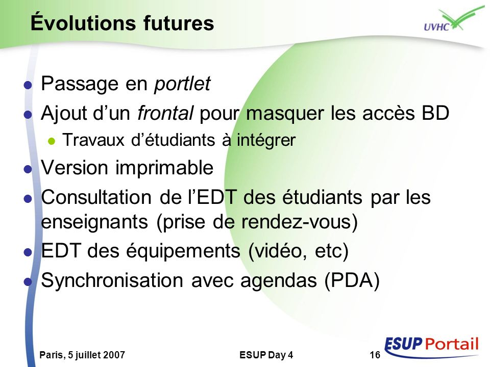 Évolutions futures Passage en portlet