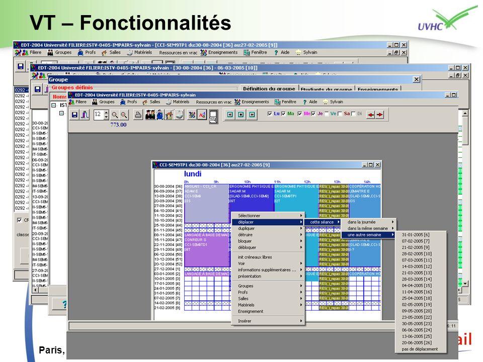 VT – Fonctionnalités Paris, 5 juillet 2007 ESUP Day 4