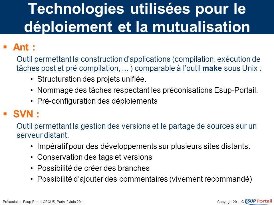 Technologies utilisées pour le déploiement et la mutualisation