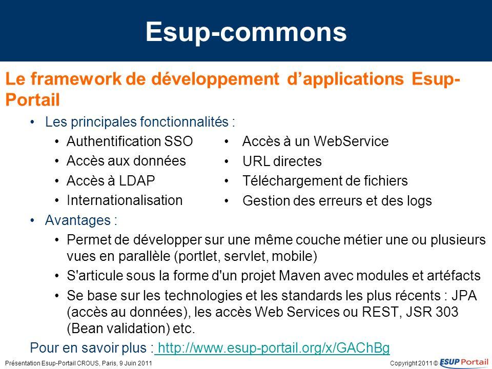 Esup-commons Le framework de développement d'applications Esup-Portail