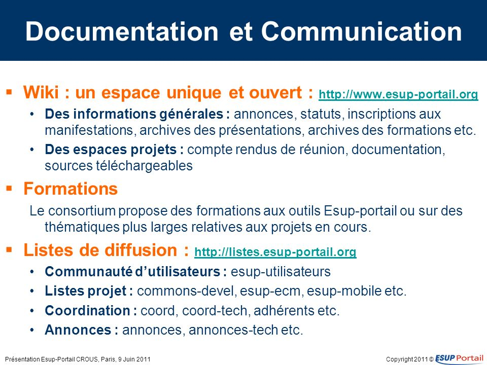 Documentation et Communication