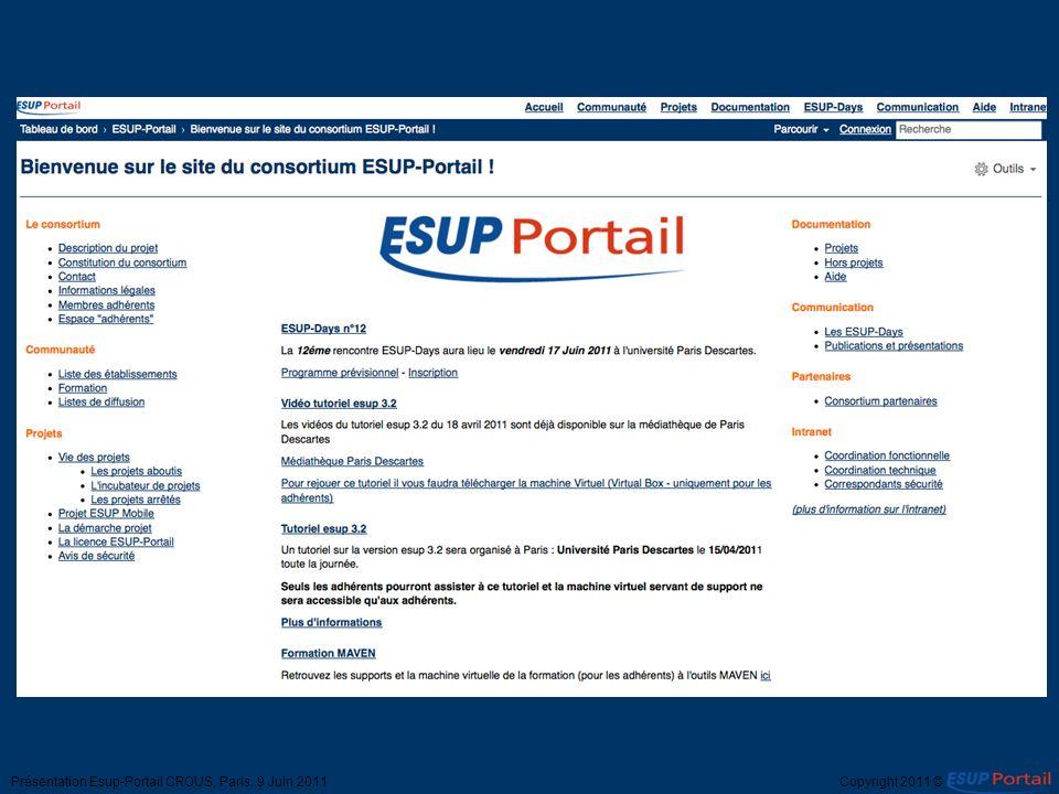 Présentation Esup-Portail CROUS, Paris, 9 Juin 2011