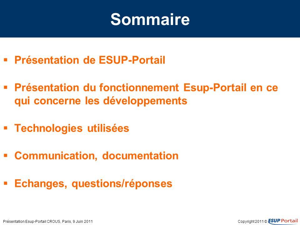 Sommaire Présentation de ESUP-Portail