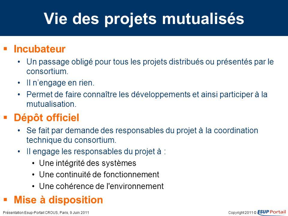 Vie des projets mutualisés