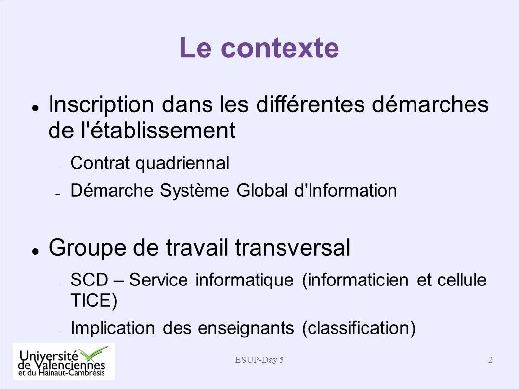 Le contexte Inscription dans les différentes démarches de l établissement. Contrat quadriennal. Démarche Système Global d Information.