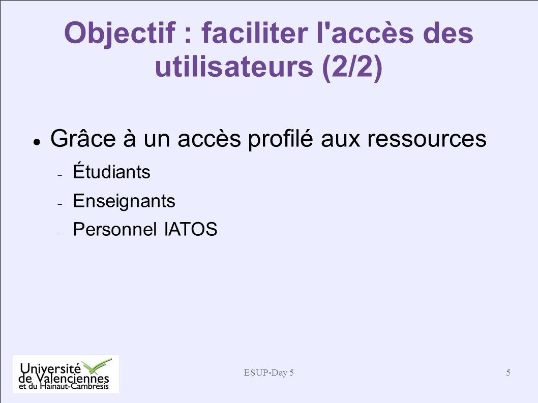 Objectif : faciliter l accès des utilisateurs (2/2)