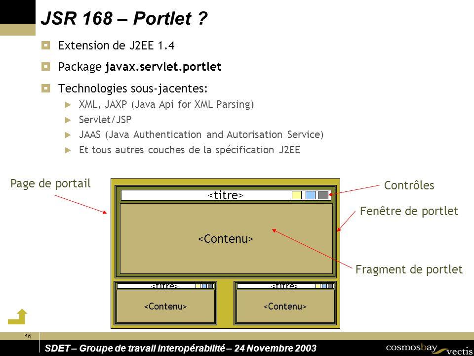 JSR 168 – Portlet Extension de J2EE 1.4
