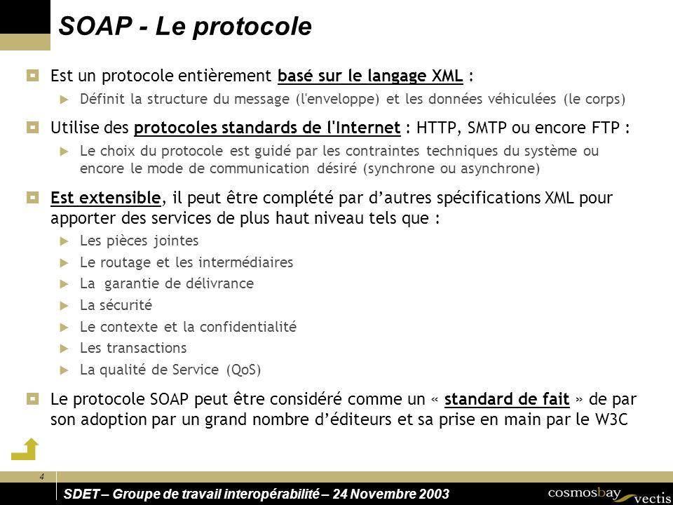 SOAP - Le protocole Est un protocole entièrement basé sur le langage XML :