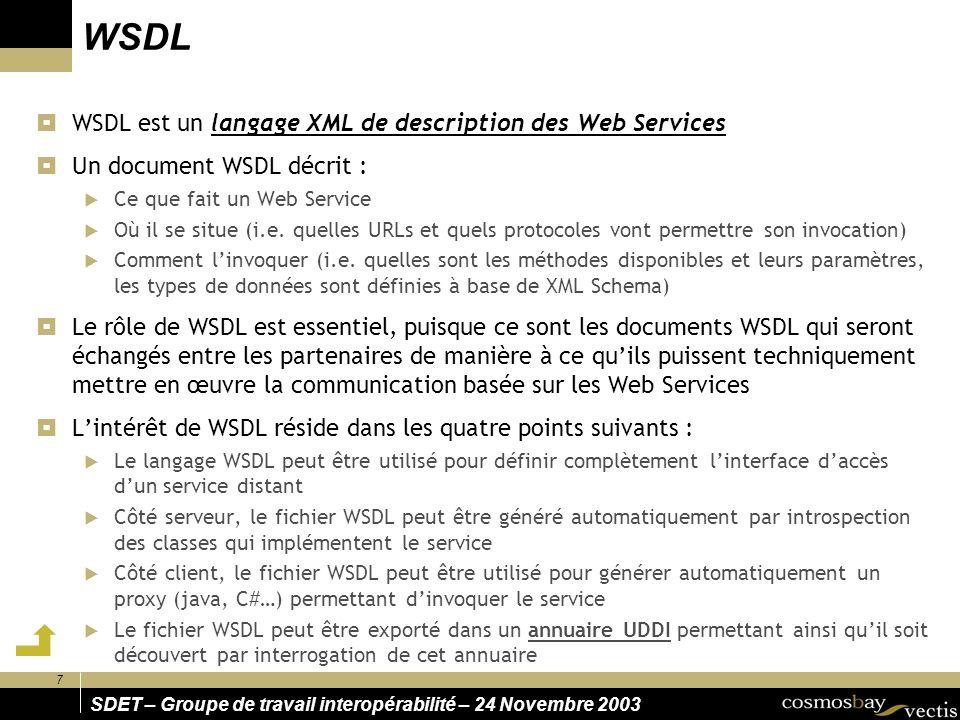 WSDL WSDL est un langage XML de description des Web Services
