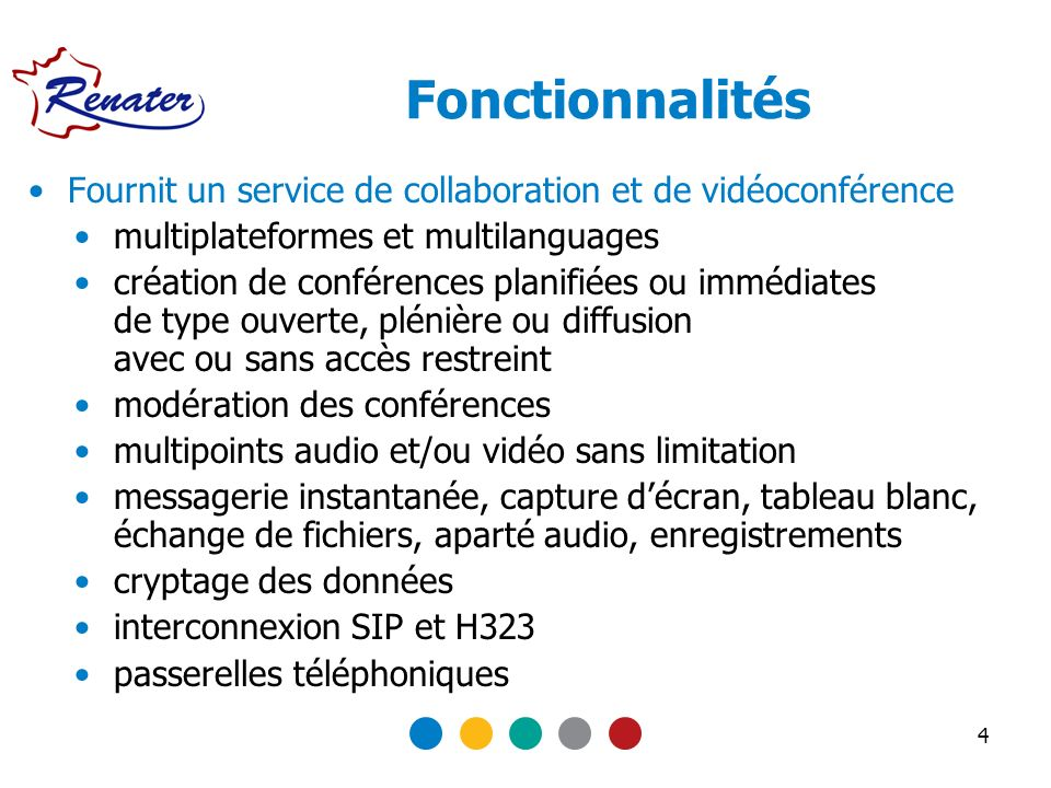 Fonctionnalités Fournit un service de collaboration et de vidéoconférence. multiplateformes et multilanguages.